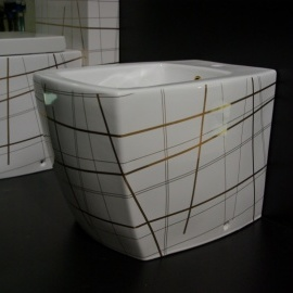 WC Bidē SQUARE balts/zelts 415G