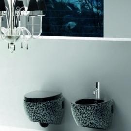 WC bidē OVAL piek. melns ar 401 dekoru