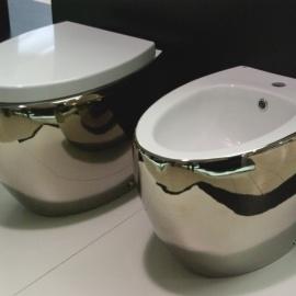 WC bidē OVAL inside white/outside platino 251